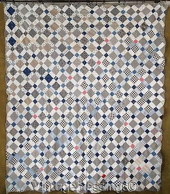 "Amazing ANTIQUE c1880-1900 Sheepfold QUILT TOP Tiny Pieces 78"" x 67"""