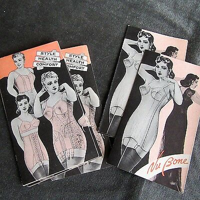 Vtg Corset Full garter lace up Girdle Peach 5 Brochure LOT NuBone advertisement