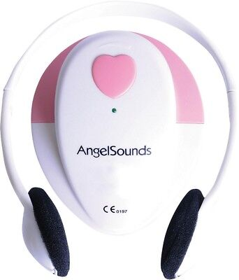 NEW Angelsounds Fetal Doppler Baby Heart Monitor with Headphones - White/Pink