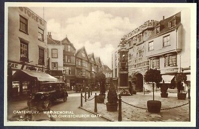 WAR MEMORIAL in Busy Street, Canterbury.  Vintage Real Photo Postcard. Free Post
