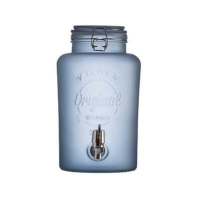 Kilner 5 Litre Drinks Dispenser Blue Frosted Glass Soft Juice Fizzy Cocktail Tap