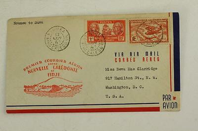 Vintage Postal History Cover AIR MAIL Noumea to Suva FIJI Caledonie Stamps 1941