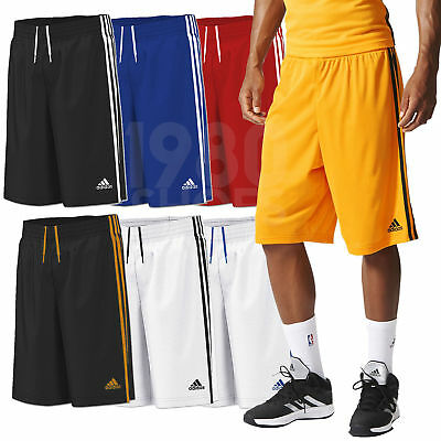 adidas Boy's Commander Basketball Shorts Long Knee Length Sport 3 Stripes White