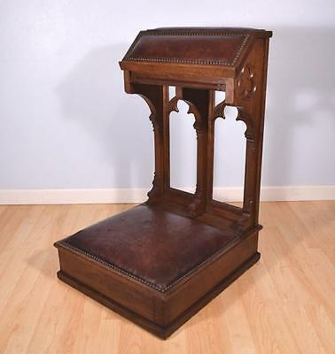 *French Antique Gothic Revival Solid Oak Prayer Kneeler with Leather Cushions