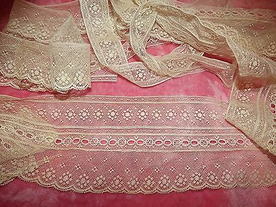 "2.1 yds ANTIQUE VINTAGE Valenciennes Net Edging Lace Cream 4 1/8"" w UNFINISHED"