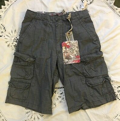 Nwt Wearfirst Boys Cargo Gray Plaid Shorts  Size 8