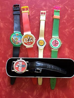 Coca Cola Coke Lot of 6 Watches Plus 1 Tin Case
