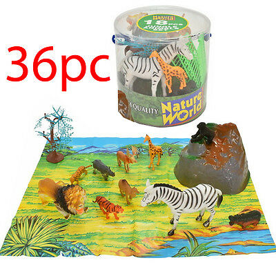 36Pc Large Tub Jungle Wild Animals Set Lion Tiger Toy Figures + 2 Playmats Kids