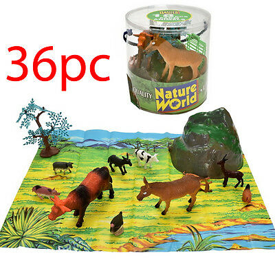 36Pc Large Tub Farm Animals Set Cow Sheep Pig Toy Figures + 2 Playmats Kids New