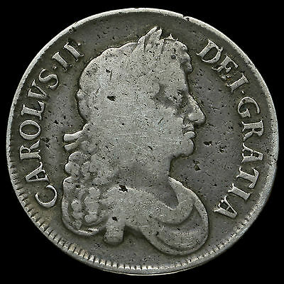1673 Charles II Early Milled Silver Vicesimo Quinto Crown, AF / Fine