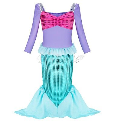 Girls Kids Princess Christmas Dress Pageant Cosplay Party Mermaid Costume Outfit