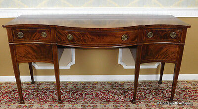 Antique Flame Mahogany Sheraton Style Dining Room Sideboard 1910