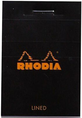Rhodia Black Lined Classic Microperforated Notepad 2 x 3 (80 Sheets) -New