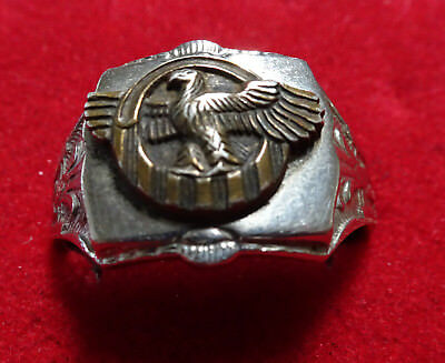 WWII US Army STERLING Ring Honorable Discharge Ruptured Duck LARGE SIZE 13