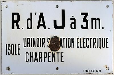 Old French enamel steel building sign plaque notice urinal electric power supply