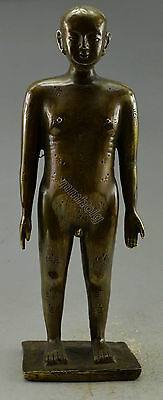 Collectible Decorated Old Handwork Copper Carved Acupuncture Statue
