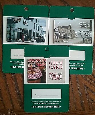 Lot of 3 Mast General Store Gift Card Collectibles