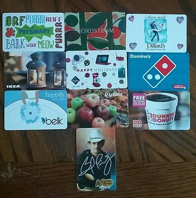Lot of 10 Misc. Gift Card Collectibles L