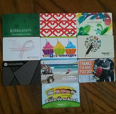 Lot of 10 Misc. Gift Card Collectibles J