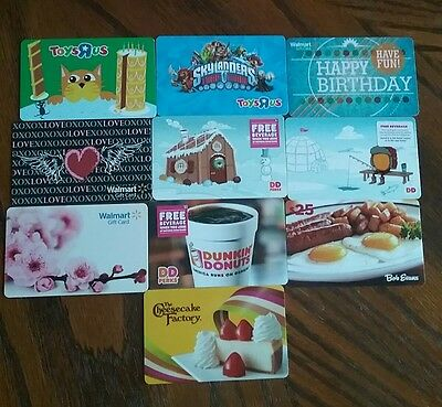 Lot of 10 Misc. Gift Card Collectibles A