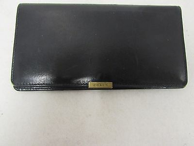 Vintage Coach Black Leather Check Book Cover