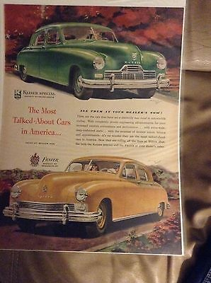Original 1946 Kaiser - Frazier Magazine Ad - Most Talked-about Cars in America