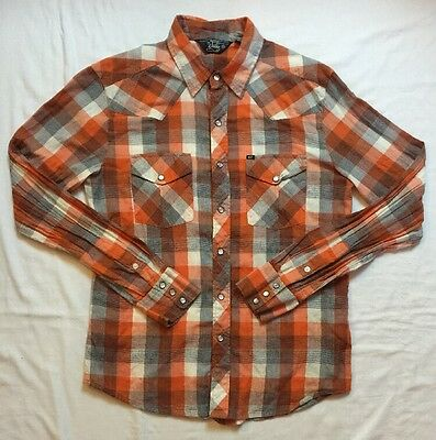 SALT VALLEY Western Shirt  Men's Size M  Pearl Inlay Snaps  Long Sleeve  Plaid