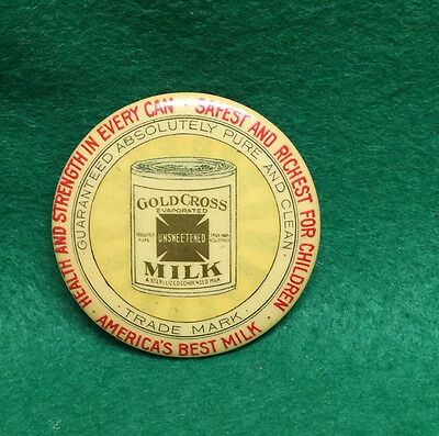 Antique Gold Cross Unsweetened Evaporated Milk Celluloid Advertising Mirror