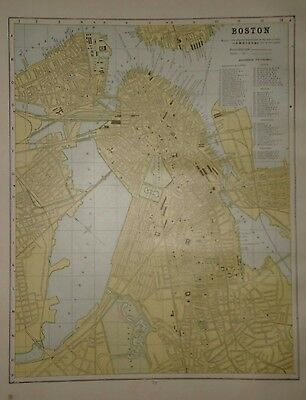 Vintage 1888 Boston Map ~ Old Antique Atlas Map Free S&h 1888/032117