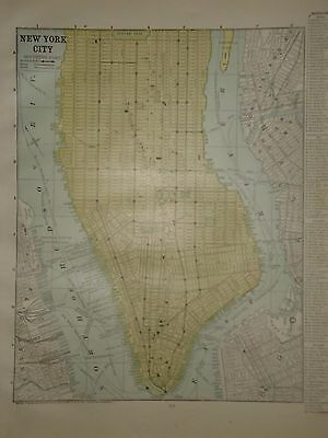 Vintage 1888 New York City Map ~ Old Antique Atlas Map Free S&h 1888/032117