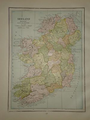 Vintage 1888 Ireland Old Antique Atlas Map Free S&h 032117