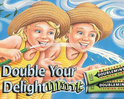 Wrigley's Double Mint Chewing Gum Sign Girls 2-Sided