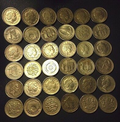 Great Britain Coin Lot - 36 British Pounds - Mixed Types - Lot #2 - FREE SHIP