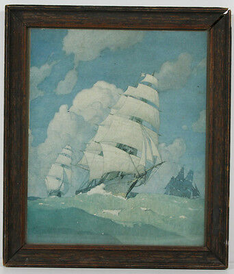 Vintage Maritime Sloop Of War Lithograph Print