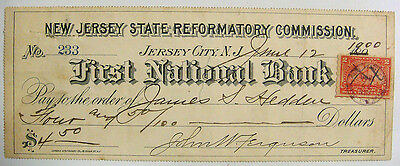 Bank Check - New Jersey State REFORMATORY Commission $4.50, June 1900, Tax Stamp