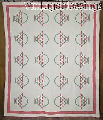 Exceptional! Vintage 30s Pink & Green Baskets QUILT Fancy Dense HAND QUILTING