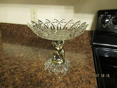 Vintage Glass Crystal Cherub Compote Brass Tone Star Centerpiece Fruit Bowl