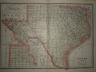 VINTAGE 1885 GREAT STATE of TEXAS MAP OLD ANTIQUE ATLAS MAP FREE S&H 85/031417
