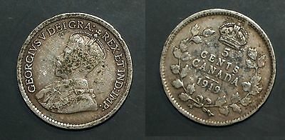 1919 Canada 5 cent SILVER  - Solid VG/Fine   stk1H8