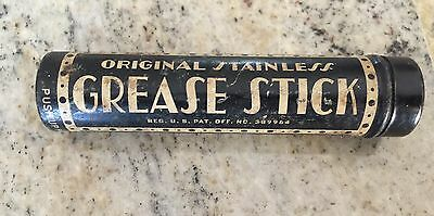 Vintage-Advertising-Round-Cylinder-Tube-Tin-Grease-Stick-Lubricate-RARE and OLD