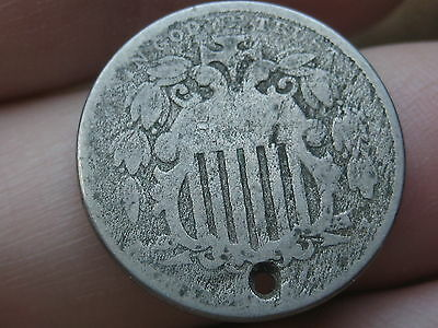 1866 Shield Nickel 5 Cent Piece- with Rays, Holed