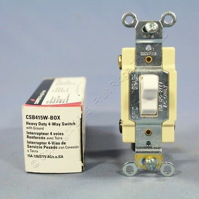 New Cooper White 4-Way COMMERCIAL Grade Toggle Wall Light Switch 15A CSB415W