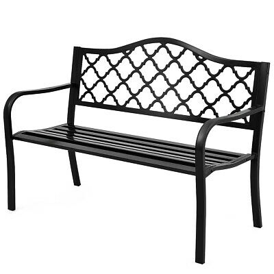 "50"" Patio Garden Bench Loveseats Park Yard Furniture Decor Cast Iron Frame Black"