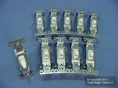 10 Cooper White Toggle Wall Light Switches Single Pole 15A 120V 1301-7W