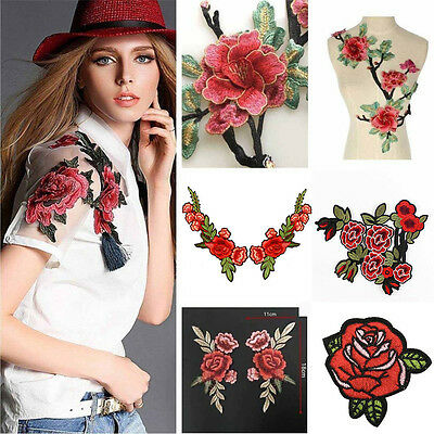 Rose Flower Embroidered Applique Badge Floral Collar Sew Patch Bust Dress Craft