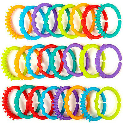 6pcs Baby Infant Stroller Gym Play Mat Toys Plastic Rainbow Teether Ring Links