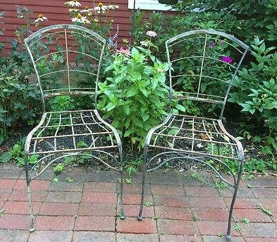 Pair Of Antique Vintage Wrought Iron Chairs Patio Garden Kitchen Shabby Chic