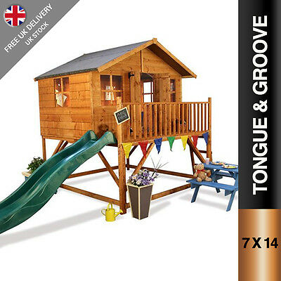 BillyOh Lollipop Xtra Tower Childrens Wooden Playhouse with Slide