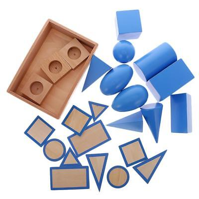 Wooden Montessori Geometric Solids Set Kids Childrens Early Educational Toy