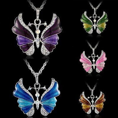 Women Crystal Rhinestone Butterfly Pendant Necklace Sweater Chain Party Gift NEW